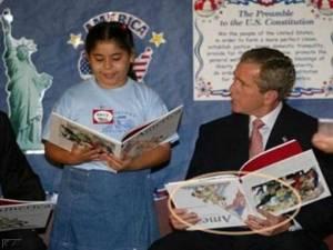 George's book is upside down